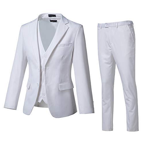 High-End Suits 3 Pieces Men Suit Set Slim Fit Groomsmen/Prom Suit for Men Two Buttons Business Casual Suit (Best Prom Suits For Men)