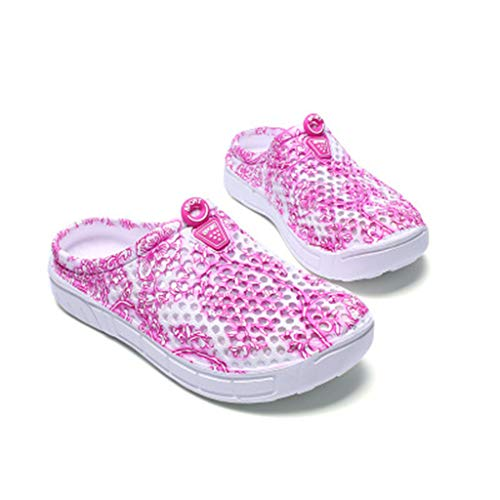 Leisuraly 2019 Women Ladies Girls Summer Hollow Out Sandals Slippers,Printed Closed Toe Wide Width Casual Beach Shoes Pink ()