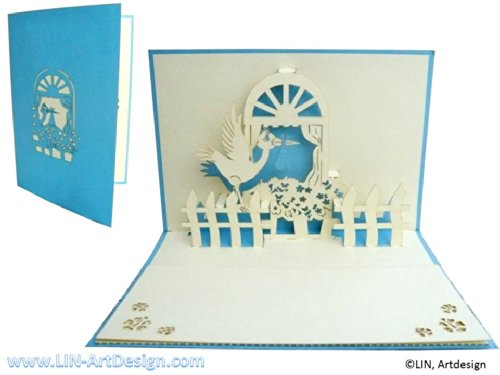 POP UP Greeting card 3D Greeting cards for the Birth of a Baby Boy