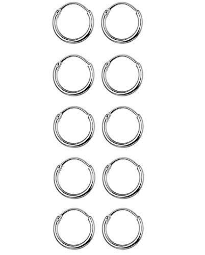 Thunaraz 5 Pairs Stainless Steel Endless Hoop Earrings Cartilage Piercing Silver Tone Sleeper Earrings 10mm