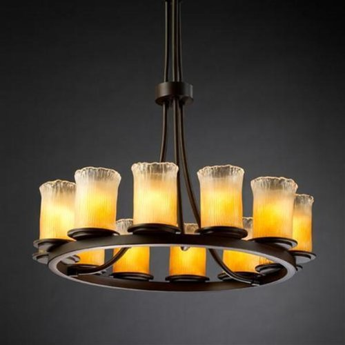 (Justice Design Group Veneto Luce 12-Light Chandelier - Dark Bronze Finish with Gold with Clear Rim Venetian Glass Shade)