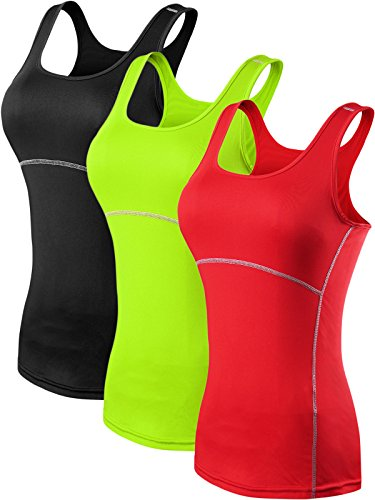 Neleus Women's 3 Pack Dry Fit Compression Long Tank Top Athletic Shirts,3 Pack:Black,Green,Red,Large