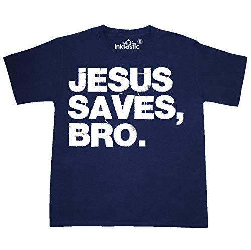 inktastic - Jesus Saves Bro Christian Youth T-Shirt Youth Small (6-8) Navy 15251
