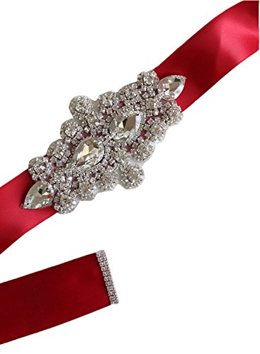 WMlover women's Crystal Rhinestone Bridal Belt Ribbon Wedding Accessories Sashes Wine Red26