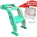 Potty-Training-Seat Unisex Toddler-Toilet - Sturdy Foldable Adjustable Ladder Non-Slip Step and Safety Handles - Fits Most Toilets. Bonuses: Soft Cushion Seat and Potty Training Chart - Age 2-8-Green