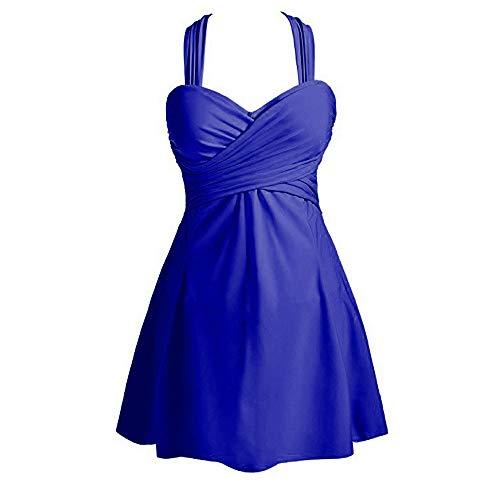 Dressin Womens Swimdress Elegant Beach Crossover Solid Skirted Swimwear Bathing Suit Beachwear