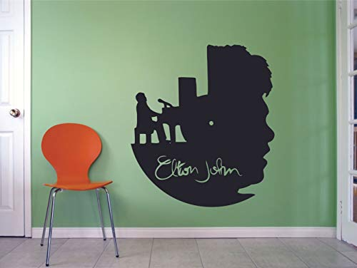 Elton John Piano Silhouette Wall Decals Music Album Artist Song Lyrics Musician Singer Rock Pop for Boys/Girls Art Room Music Room Studio Home Bedroom Vinyl Wall Art Decal Decoration Size (10x8 inch)
