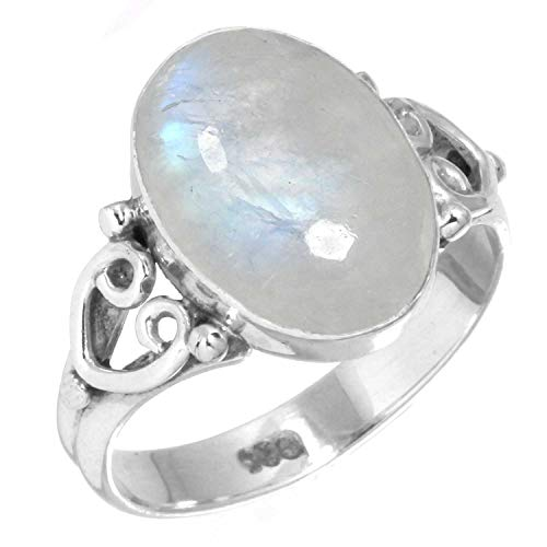 Rainbow Moonstone Women Jewelry 925 Sterling Silver Ring Size 6.5 from Jeweloporium