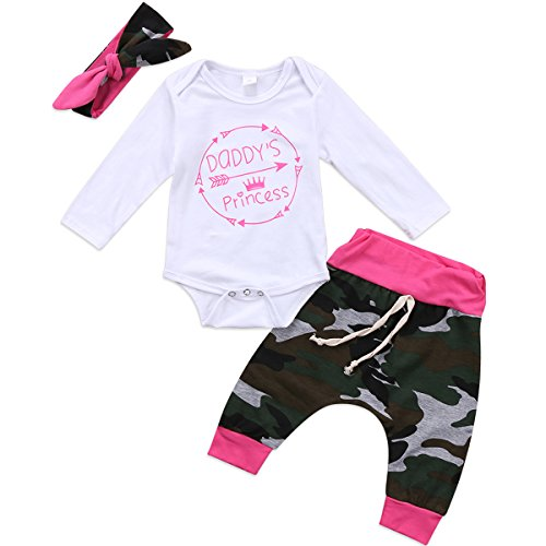 Baby Boys Girls Mama's Boy and Daddy's Princess Long Sleeve Romper Camouflage Pants Hat Headband 3pcs Outfit Set (0-6 Months, Daddy's Princess) ()