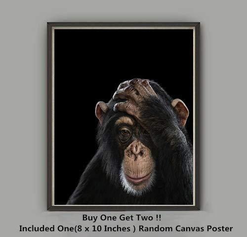 (QG Art Digital Art Monkey Chimpanzees Animal Canvas Art Prints Poster,Not Included Frame )