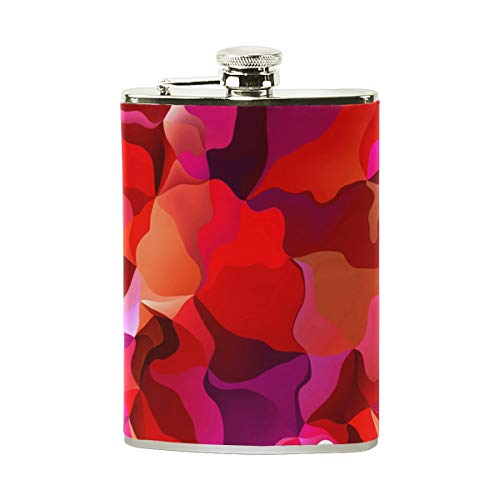 Steel Stainless Flask,Vibrant Bold Red And Pink Leather Pocket Funnel with Screw Top,Liquor Alcohol Whiskey Classic Hip for Men,8 OZ ()