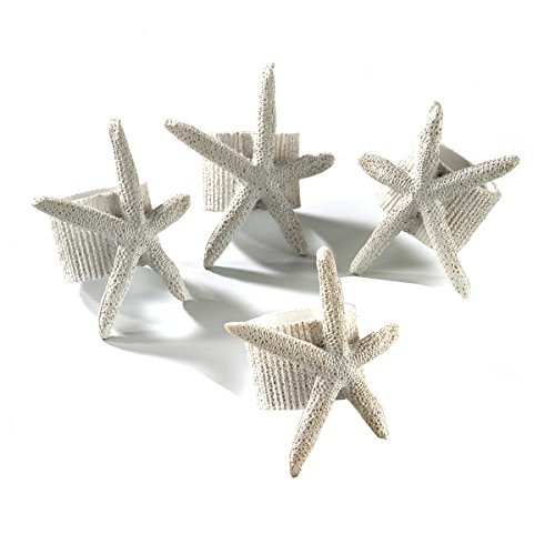 Occasion Gallery White Resin Nautical Theme Starfish Napkin Ring, 4 Piece Set