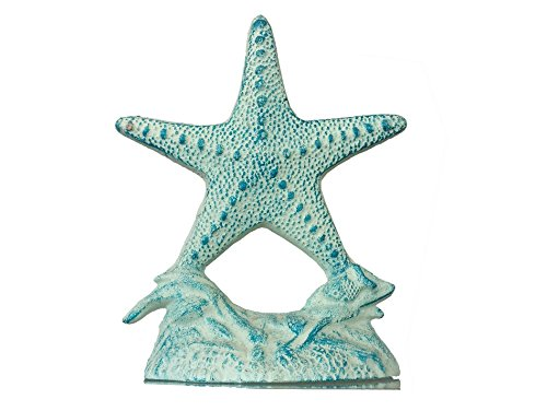 Rustic Cast Iron White and Blue Starfish Doorstop 10 - Decorative Nautical Doorstop