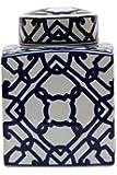Large Blue & White Square Decorative Ginger Jar - Set Of 2