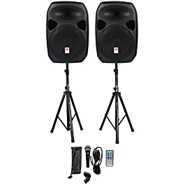 Rockville RPG122K Dual 12″ Powered Speakers, Bluetooth+Mic+Speaker Stands+Cables