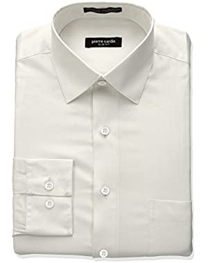 Men's Slim Fit Solid Broadcloth Semi Spread Collar Shirt