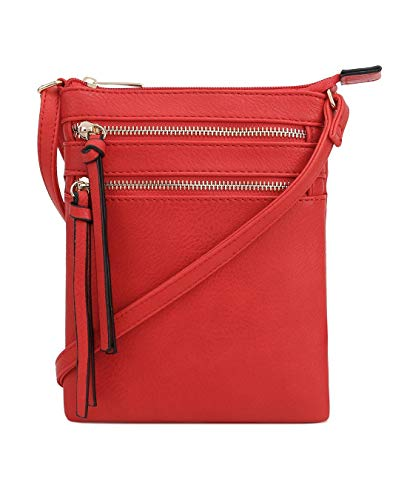 DELUXITY Essential Casual Functional Multi Pocket Double Zipper Crossbody Purse Bag for Women (Red)