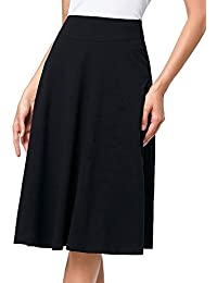 Flared Stretchy Midi Skirt High Waist Jersey Skirt for Women
