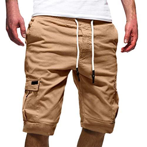 - TANGSen Fashion Men's Sport Pure Color Pant Bandage Pocket Casual Loose Sweatpants Drawstring Short Long Pant Khaki