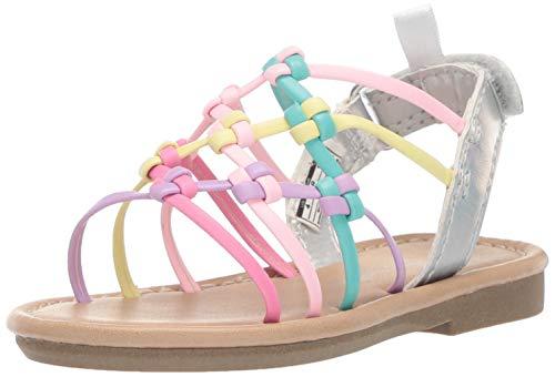 - carter's Girl's Edina Metallic Strappy Sandal, Multi, 7 M US Toddler