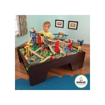 Amazon.com: KidKraft Waterfall Mountain Train Set and Table: Toys ...