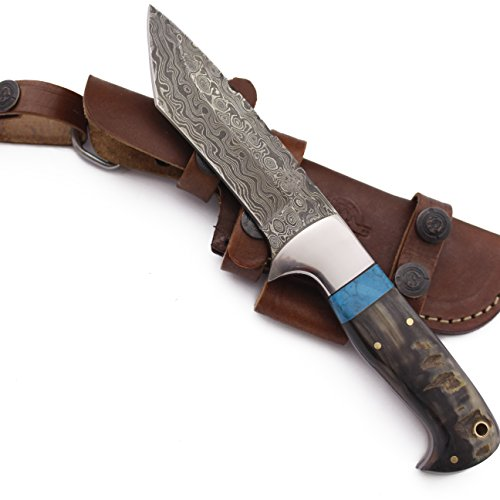 Horn Handle Leather Sheath - WolfKlinge DCX17-72 Handmade Damascus Steel Hunter, Sheep Horn Handle, with Cowhide Leather Sheath ... Be the first to review this item