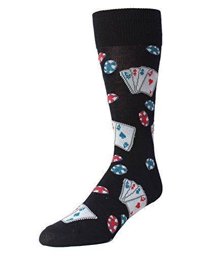 MeMoi Poker Face Playing Card Socks MMF-000017 Black One Size (Poker Stockings)