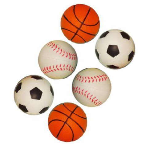 Yabber Set of Six 2 Inch Mini Sports Toy Foam Balls Miniature Basketball Baseball Soccerball Softball Little League Sport Baby Boy Girl Party Favors Safe Indoor or Outdoor Play Stress Squeeze Balls