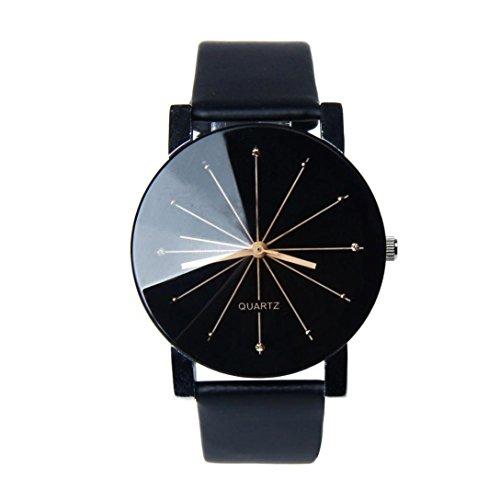 IEason,1Pair Men and Women Quartz Dial Clock Leather Wrist Watch Round Case (Black)