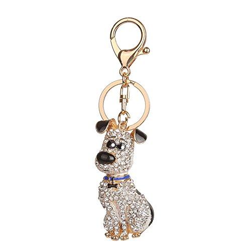 Price comparison product image Diamondo Cute Rhinestone Keychains Shining Puppy for Bag Backpack Car Key Girls Women (A)