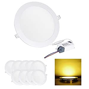 10 Pcs Round 15W SMD LED Recessed Ceiling Panel Down Light Bulb Lamp W/ Driver