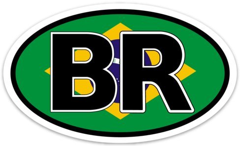 Backwoods Barnaby Brazil (BR) Flag Vinyl Decal - 5 inches - Brasil Travel Oval Bumper Sticker (3