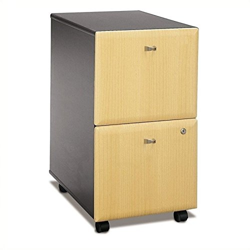 Bush Business Furniture Office Advantage 2 Drawer Mobile File Cabinet, Beech/Slate, Standard ()