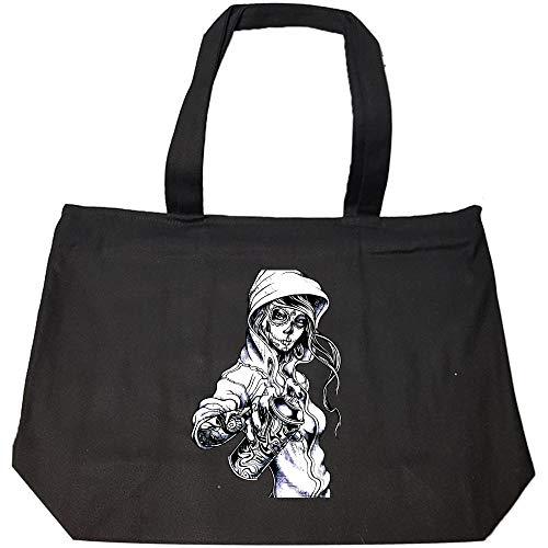 Peaceful Spirits - Graffiti Tag Skeleton Ghetto Girl - Fashion Zip Tote Bag