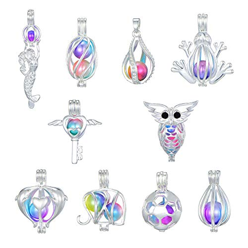 New Arrival Christmas Gifts 10 Pcs Bright Silver Cute Pearl Cage Bright Silver Beads Cage Locket Pendant Jewelry Making-for Oyster Pearls (Style4)