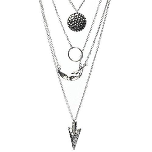 VWH 1pcs Silver Color Women Bohemian Alloy Pendant Multilayer Chain Necklace