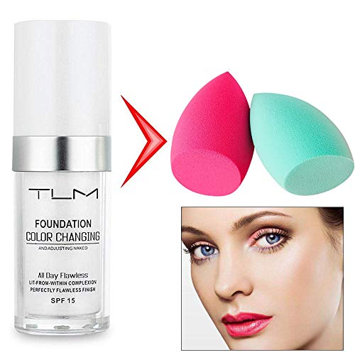 30ml TLM Color Changing Foundation Liquid Base Makeup Change To Your Skin Tone By Just Blending Change Skin Color Foundation (2 puffs)