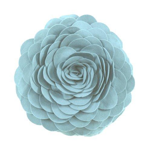 Fennco Styles Eva's Flower Garden Decorative Throw Pillow with Insert - 13 inch Round (Aqua, 13