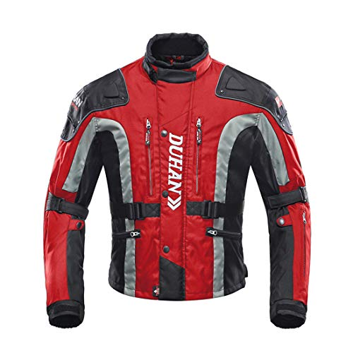LLC-POWER Motorcycle Riding Jackets, Moto Jacket for Men and Women, Windproof Waterproof Protective Gear Armor,Red,L