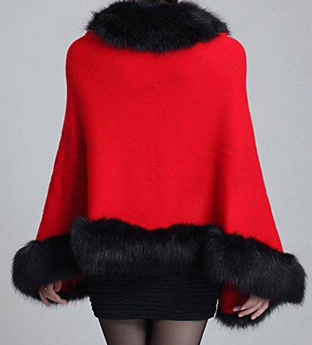 Fox manteau fourrure chale cape Rouge faux femmes Helan floral avec q4xgT4