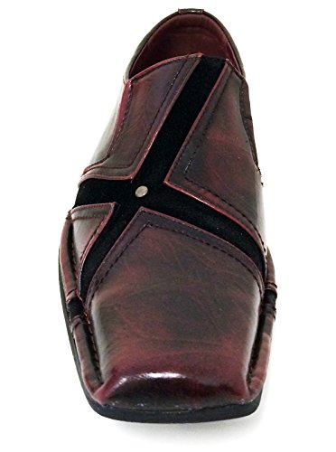 San-04 Uomo Vestito Casual Scarpe Mocassini Moda Slip On Punta Affusolata Stile Italiano Nero, Marrone, Bordeaux Bordeaux