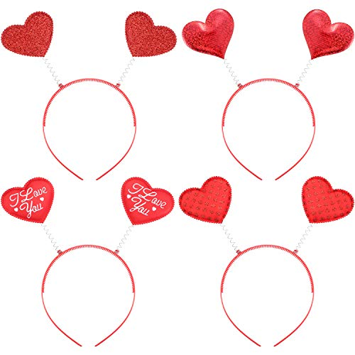 Bememo 4 Pieces Valentine's Day Red Heart Headbopper Glitter Heart Headband for Valentine Party Accessories ()