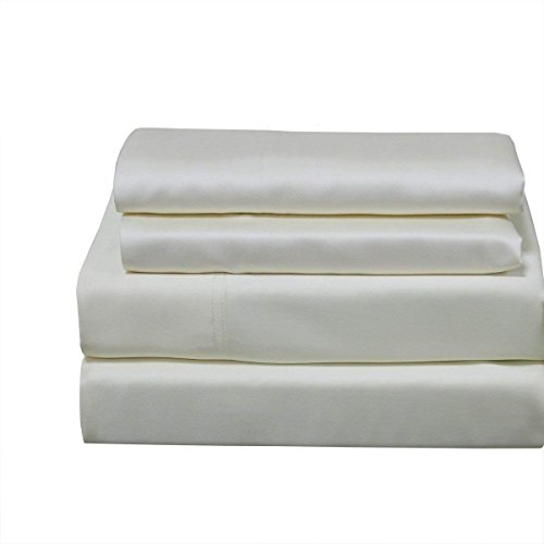 Abripedic 100% Bamboo Bed Sheet Set, 600TC - Queen, Solid Ivory - Super Soft & Cool Viscose 4PC Sheets