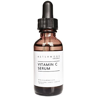 Vitamin C 20% 1 oz Serum with Organic Hyaluronic Acid 20% - Lighten Sun Spots, Anti Aging, Anti Wrinkle - Light and Oxygen Stable MAP Vitamin C - ASTERWOOD NATURALS - Classic Formula Bottle
