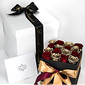 Forever Monroe's Red & Gold Preserved Box of Roses that last a year, Rose Box for Personalized Valentines Gift for her 15