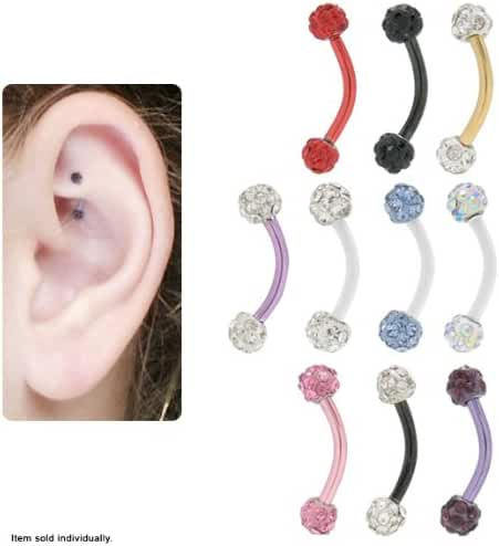 Anodized Titanium Curved Barbell Rook Earring with Cz Jewels