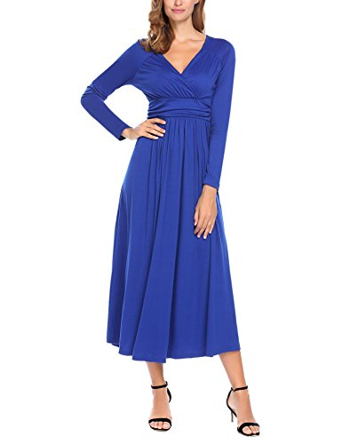 Misakia Women'S Rayon Span Jersey Maxi Long Dress with Elastic Waistband - Solid