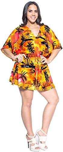La Leela likre todo en 1 sala estar desgaste la hawaiana dCaribe dvestido túnica top cordón ropa playa más szie kaftan elástica señoras ocasionales la piscina fiesta en la playa dcorto encubren Naranja