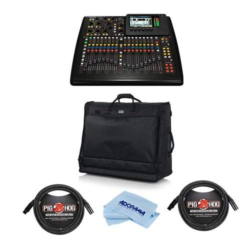 Behringer X32 Compact 40-Input 25-Bus Digital Mixing Console - Bundle With Gator Cases Padded Nylon Carry Bag, 2x 10' 8mm XLR Mic Cable 3 Pin XLR Male to 3 Pin XLR Female, Microfiber Cloth