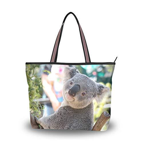 Woman Tote Bag Shoulder Handbag Naughty Koala for Work Travel Business Beach Shopping School ()